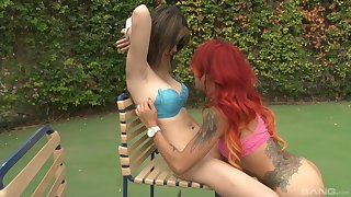Asian Kimberly Chi having passionate action with a redhead bomb