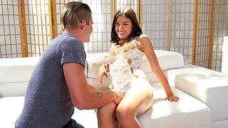 Tight Latina teen babe Kendra Spade gets a cum shot on her pussy