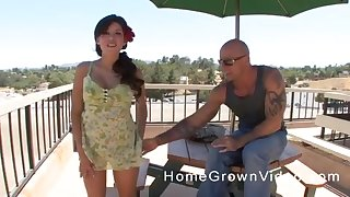 Latina MILF pounded missionary style with a flower in her hair