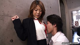 Naughty Asian chick Yuria Takeda gives a blowjob in the interview
