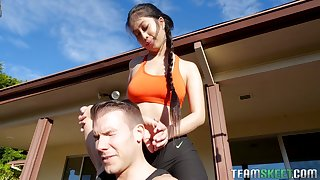 Super juggy Asian yoga instructor Jade Kush is fucked by horny guy