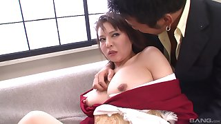Asian MILF gets abused and threatened by two well hung guys