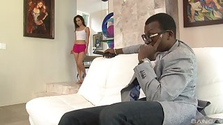 Petite Asian teen Mila Jade blows and rides a big black dick