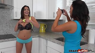 Busty Latina lesbian couple Jamie and Justene try out new clothes