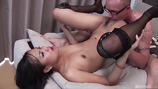 Asian with small tits, serious firm sex with a white dude